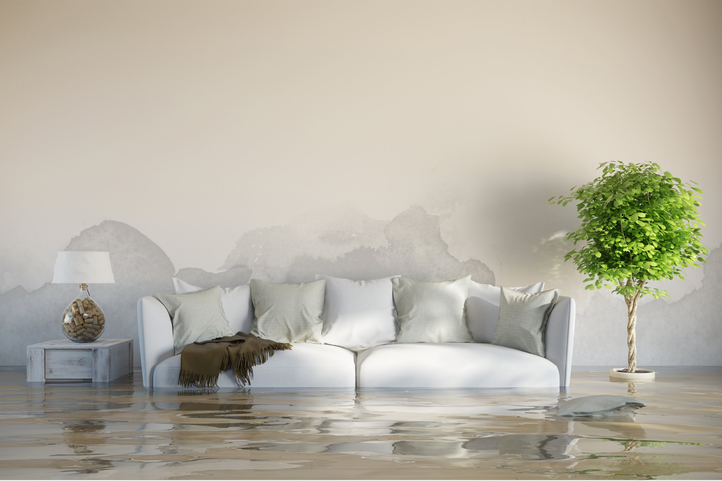 Water Damaged Living Room That Restored Air Could Help Restore And Dry Out With Their Disaster Restoration Service.